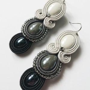 Szaro-czarne kolczyki z ceramiką