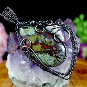 Kamień krwisty, Miedziany wisior z kamieniem krwistym, heliotrop, ręcznie wykonany, prezent dla niej, prezent dla mamy, prezent urodzinowy, dwustronny