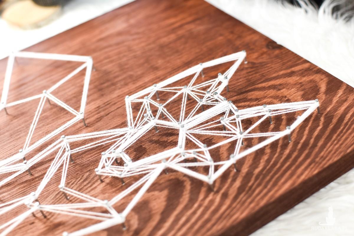 """""""Geometric design"""" Lis geometryczny skandynawski, Ciemne drewno, Sosna"""
