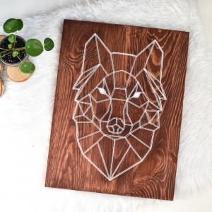 Obraz Skandynawski wilk geometryczny, Naturalne drewno, Sosna, String Art