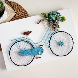"""Obraz """"Colorful design"""" Rower z bukietem kwiatów, Rower miejski z koszem, String Art"""