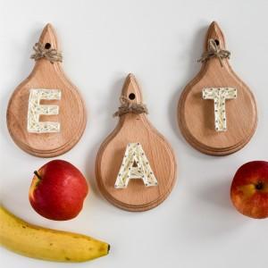"""Near the nature"" Eat, Deski z napisem Eat do kuchni, Parapetówka String Art"