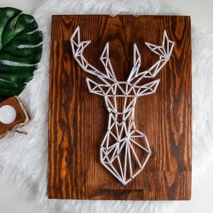 Obraz Skandynawski jeleń, łoś, renifer geometryczny, Naturalne drewno, Ciemne drewno, Sosna String Art