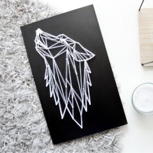 Obraz Wilk skandynawski geometryczny Wolf Czarny obraz Pokój chłopca String Art