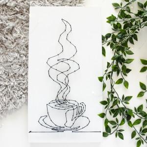 Obraz Filiżanka kawy herbaty Obraz z filiżanką, z kubkiem, Obraz do kuchni String Art