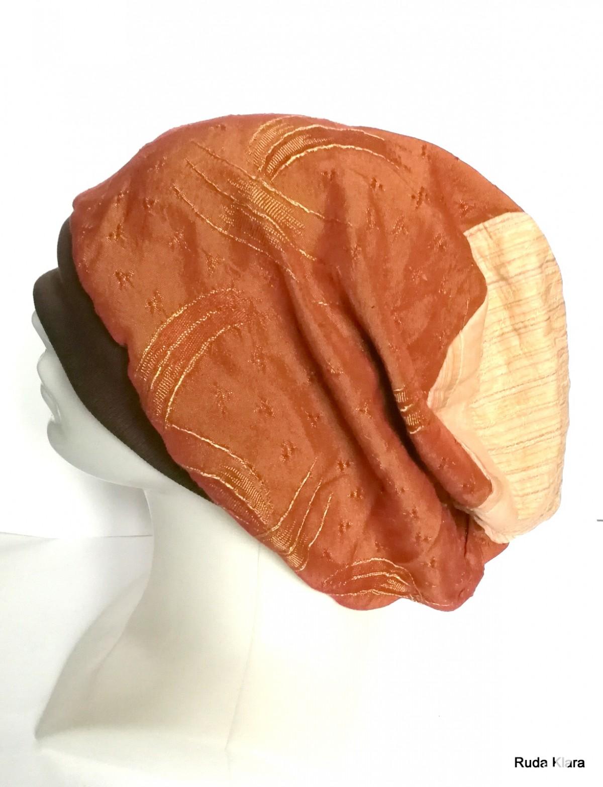 czapka damska brązowa codzienna na podszewce