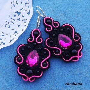 Neonowy Róż & Czarny kolczyki sutasz