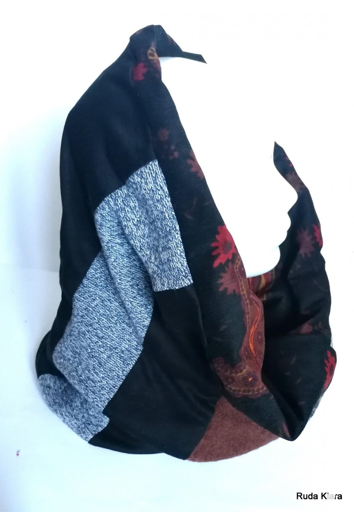 komin patchworkowy pojedynczy egzemplarz damski handmade