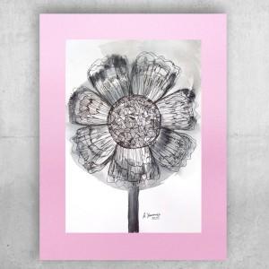 nowoczesny rysunek, skandynawska grafika, różowo szary obraz