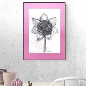 nowoczesna grafika w skandynawskim stylu, słonecznik rysunek do pokoju, ładny szkic minimalizm