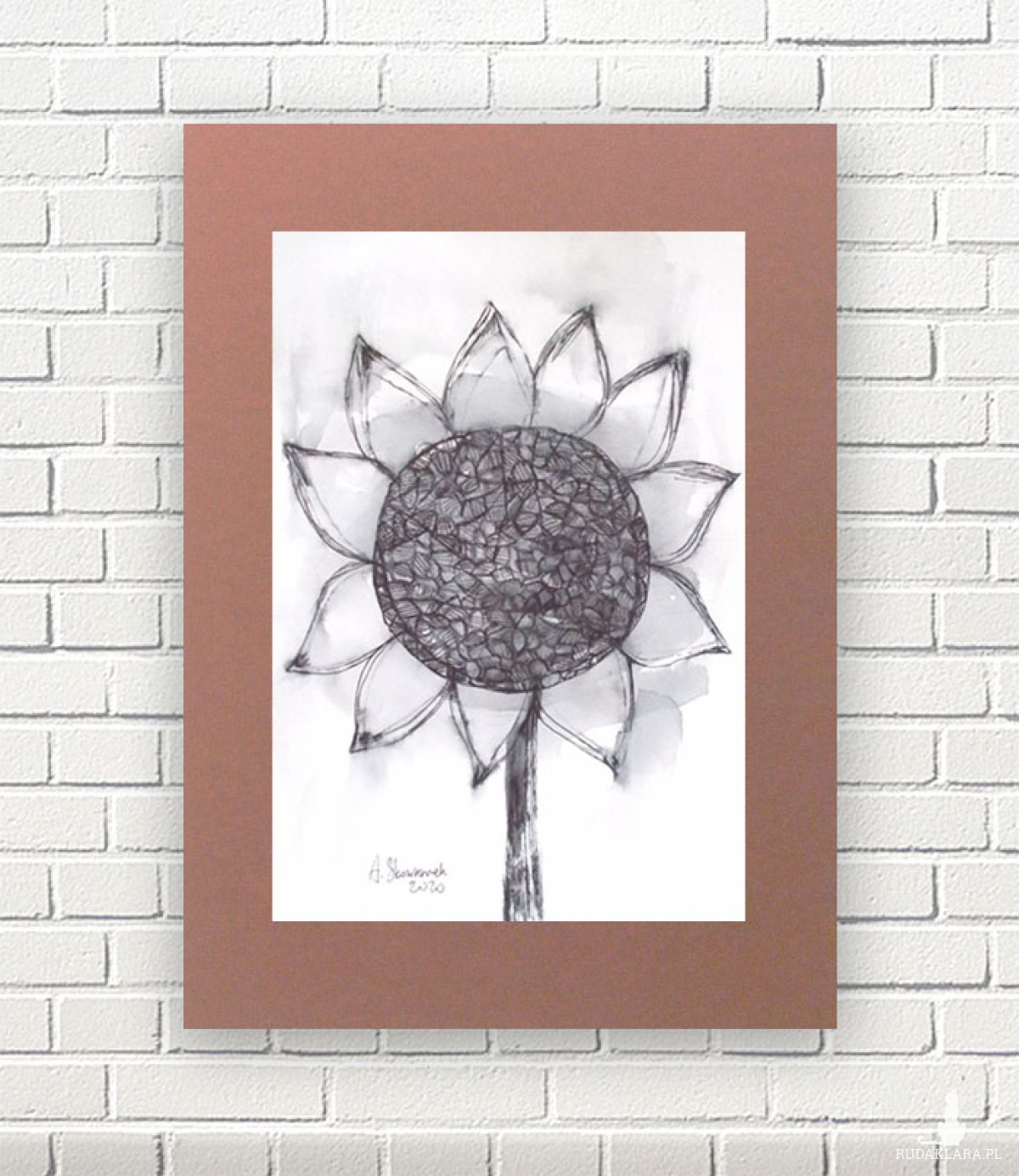 minimalizm grafika, skandynawski obraz do pokoju, oryginalny rysunek ze słonecznikiem