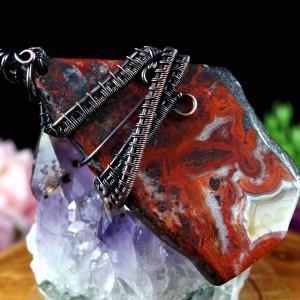 Agat crazy lace, miedziany wisior z agatem koronkowym, prezent dla niej, prezent dla mamy, prezent dla żony, biżuteria ręcznie robiona