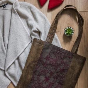 Duża skórzana haftowana torba na ramię