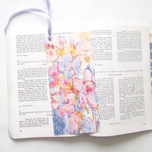 zakładki z kwiatami, zakładki pastelowe, ładne zakładki do książek, komplet 5 zakładek
