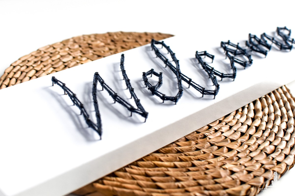 Welcome Obraz do korytarza Handmade String Art