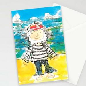marynarskie kartki, kartki dla chłopca, kartki dla chłopaka, fajne zaproszenia, zestaw 8 kartek, podziękowania dla gości