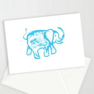 słoń kartki, kartki ze słoniem, kartki dla dzieci, zaproszenia, zestaw 8 kartek, podziękowania dla gości