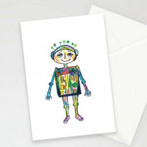 robot kartki, kartki dla chłopca, śmieszne kartki, kartki dla chłopaka, zaproszenia, zestaw 8 kartek