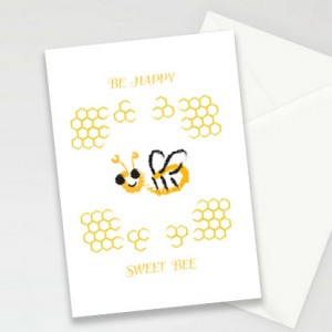 pszczoła kartki, kartki z pszczółką, ładne kartki, zaproszenia, zestaw 8 kartek, podziękowania dla gości