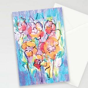 kolorowe kartki, oryginalne kartki z kwiatami, zaproszenia, komplet 10 kartek, podziękowania dla gości