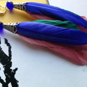 klipsy z piórami długie lekkie niebieskie