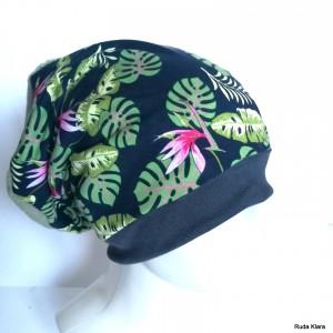 czapka dzianinowa sportowa codzienna damska w kwiaty