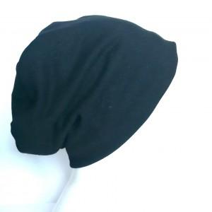 czarna czapka męsko damska unisex na podszewce handmade