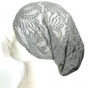 czapka koronkowa szaro czarna damska retro