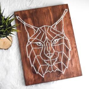 Obraz Ryś geometryczny skandynawski, Dziki kot, Sosna String Art