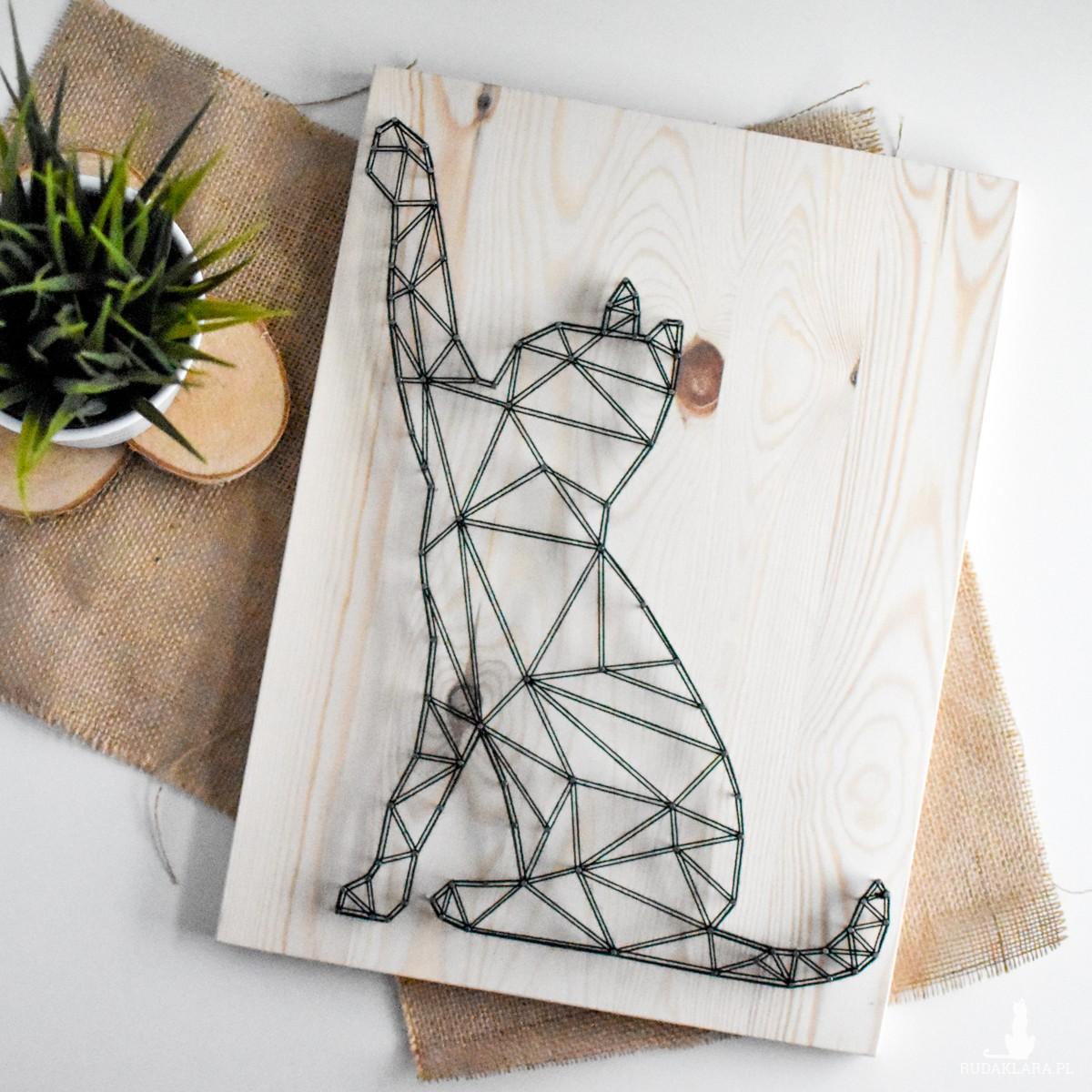 Kot geometryczny skandynawski, Kot do pokoju dziecka, Naturalne drewno
