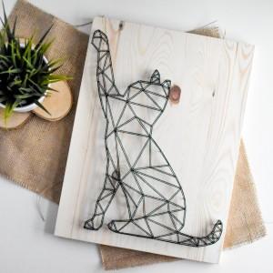Obraz Kot geometryczny skandynawski, Kot do pokoju dziecka, Naturalne drewno String Art