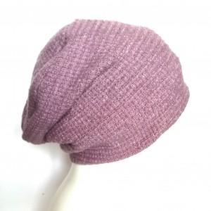 czapka damska wełniana pastel lila wrzos