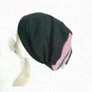 czapka czarna na podszewce z patchworkową górą