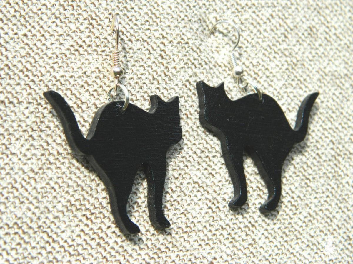 Kolczyki koty, czarny kot kolczyki, prezent dla kociary, biżuteria z motywem kota