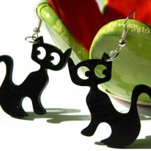 Kolczyki z kotami, czarne koty, czarny kot biżuteria, prezent dla wielbicielki kotów, kolczyki z kotami