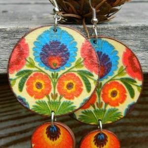 Kolczyki ludowe łowickie, biżuteria folkowa, kolczyki boho, Biżuteria flamenco, Kolczyki w stylu Fridy