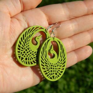Kolczyki ptaki ażurowe jasnozielone limonkowe, kolczyki hippie boho, biżuteria drewniana eco