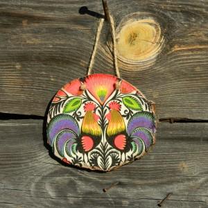 Folkowa dekoracja na ścianę lub drzwi, łowickie kogutki, Do domu wzór ludowy, Prezent z drewna w stylu boho