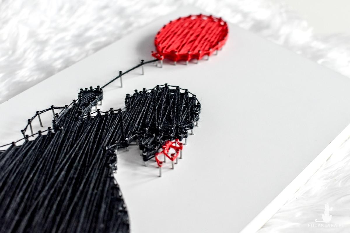 Dziewczynka z czerwonym balonem, String art, Obraz z dziewczynką