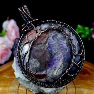 Drzewko Szczęścia, Miedziany wisior z jaspisem fioletowym, ręcznie wykonany prezent dla niej prezent dla mamy, prezent urodzinowy biżuteria