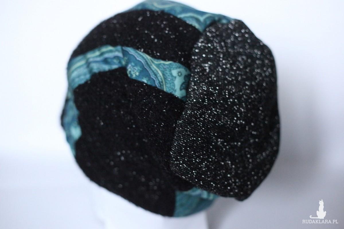 czapka damska patchworkowa z brokatem