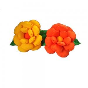 Poduszki dekoracyjne kwiaty żółta i pomarańczowa komplet