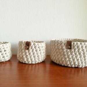 Koszyk ze sznurka bawełnianego kremowy rozm.L