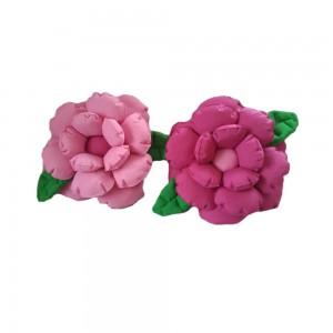 Komplet poduszek ozdobnych kwiatki jasny i ciemny róż