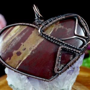 Jaspis brązowy, Miedziany wisior z jaspisem, ręcznie wykonany, prezent dla niej, prezent dla mamy, prezent urodzinowy, biżuteria autorska