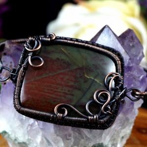 Jaspis, Miedziana bransoletka z jaspsiem, ręcznie wykonana, prezent dla niej, prezent dla mamy, prezent dla żony, handmade pomysł na prezent