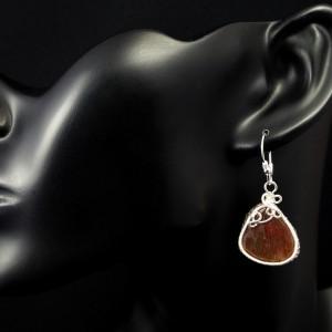 Kwarc z rutylem, Srebrne kolczyki z kwarcem, ręcznie wykonane, prezent dla niej, prezent dla mamy prezent urodzinowy biżuteria autorska