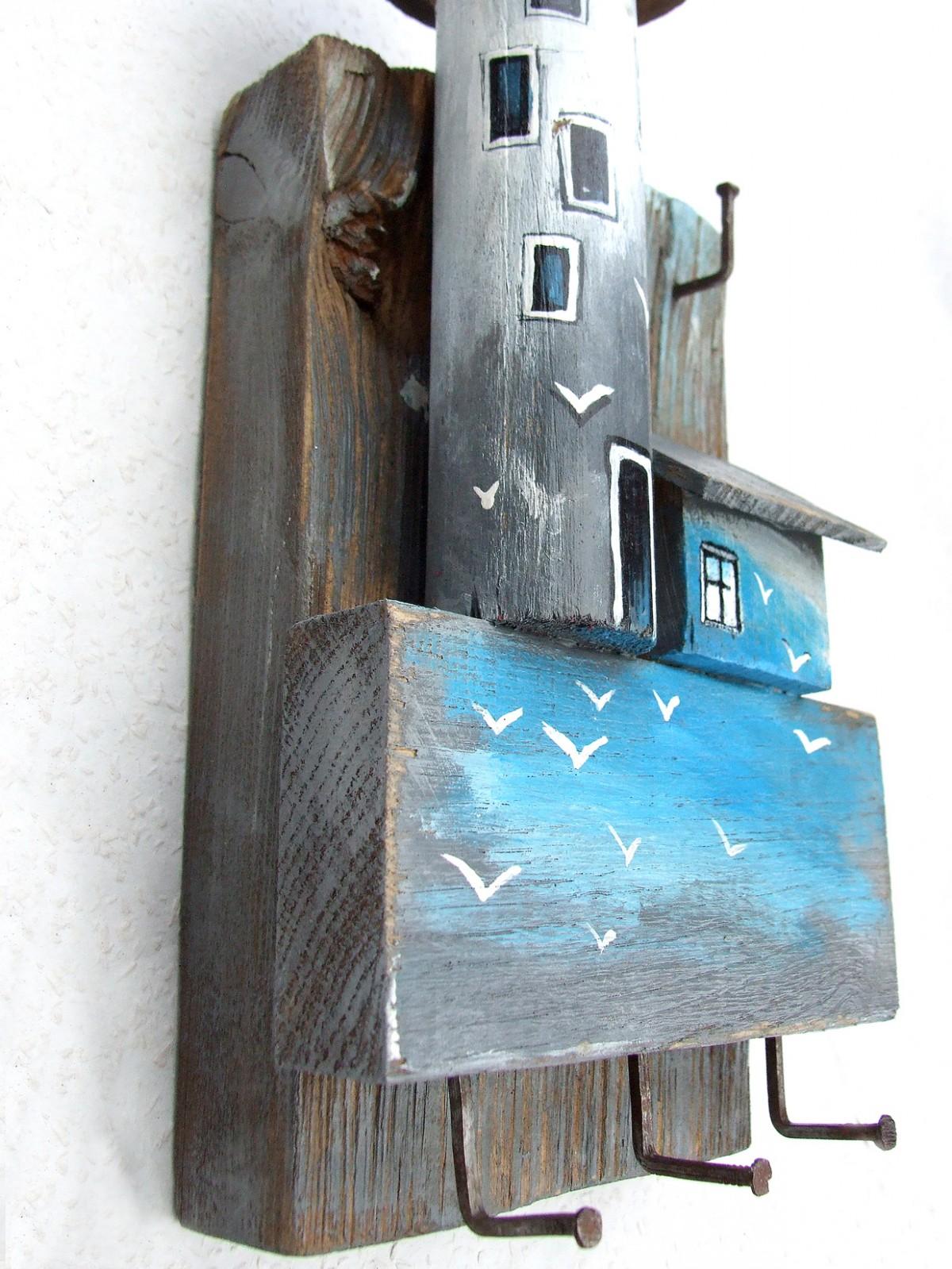 Latarnia morska - drewniany wieszak na drobiazgi