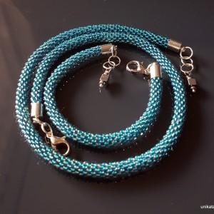 Komplet, naszyjnik, bransoletka w kolorze turkusowym