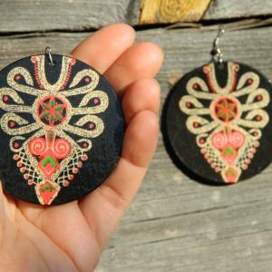 Kolczyki z parzenicą, wzór ludowy, biżuteria boho etno folk, duże kolczyki koła